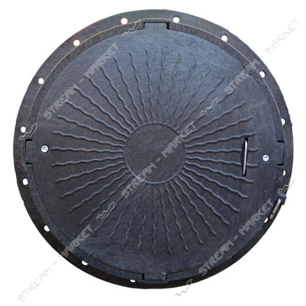 Люк канализационный полимерный черный с замком 3т (d.крышки 620мм, выс.100мм. d. юбки 760мм.)