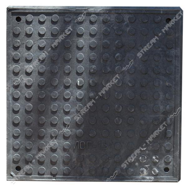 Люк квадратный Garden полимерпесчаный 1, 5 т. выс 60мм вн/нар 480/640 черный