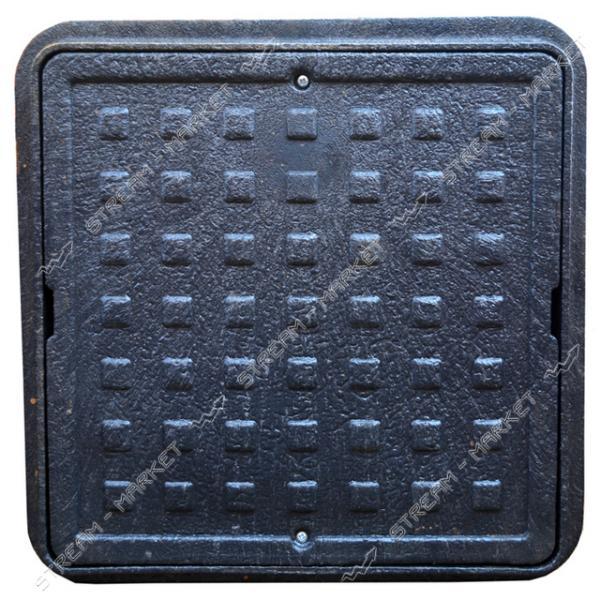 Люк квадратный 500*500 б/з пластик черный (1т) (размер крышки 500*500мм, высота люка h-90мм)