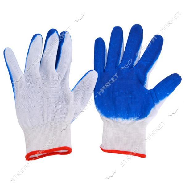 Перчатки рабочие Вампирки эконом стрейч с синим резиновым покрытием