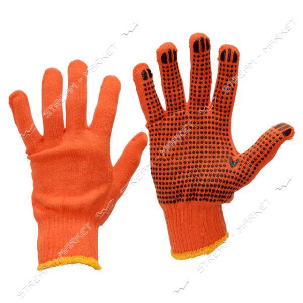 Перчатки рабочие х/б оранжевые эконом с ПВХ точкой