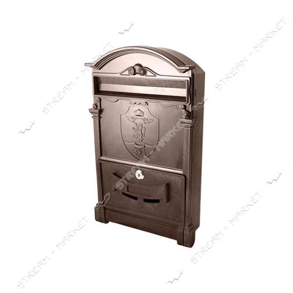 Почтовый ящик пластик цвет коричневый Герб Лев PO-0017