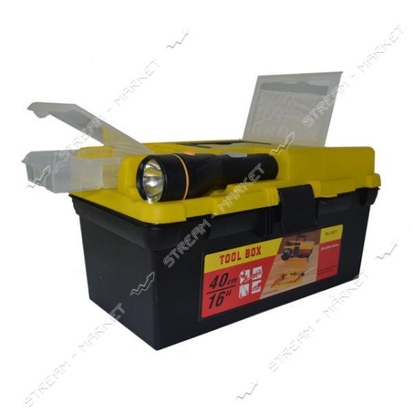 Ящик для инструмента H-TOOLS 79K021 16' с фонариком 395*220*200 мм