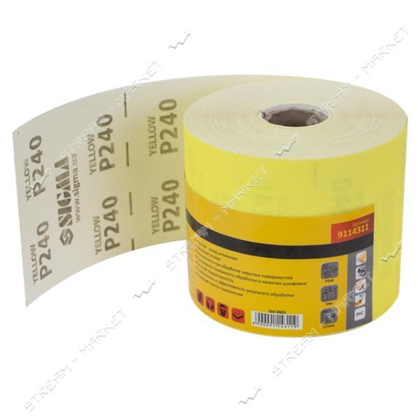 SIGMA 9114311 шлифовальная шкурка на бумажной основе 115мм*50м, Р240