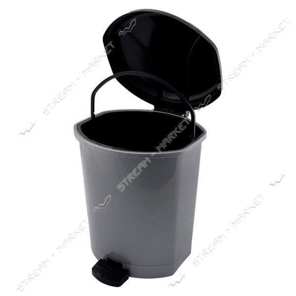 Ведро пластиковое с педалью 15л металлик Горизонт