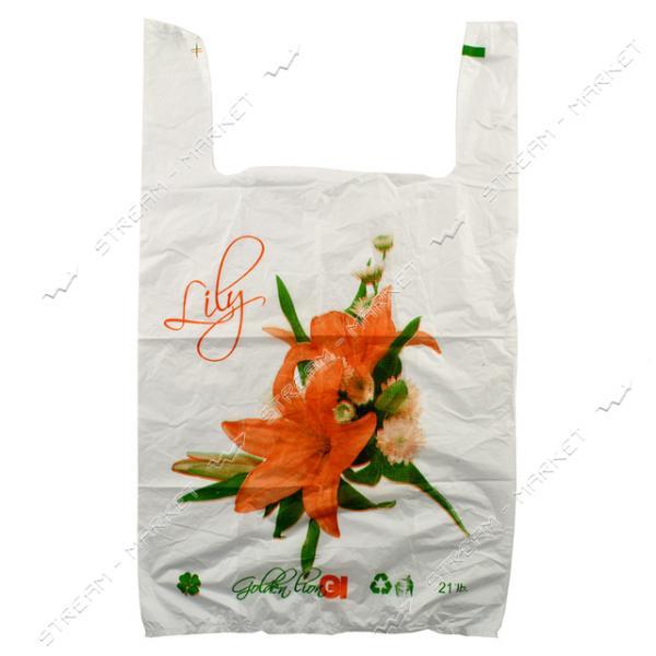 Пакет полиэтиленовый майка с рисунком Лилия 30х47см 250шт