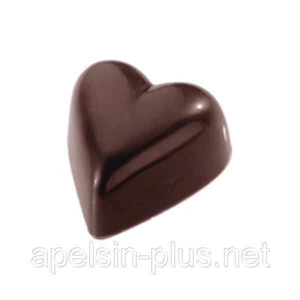 Фото  Поликарбонатная форма для шоколада Сердечки гладкие 21 ячейки