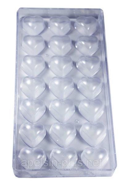 """Поликарбонатная форма для шоколада """"Сердца гладкие"""" 21 ячейки"""
