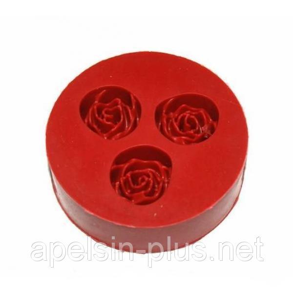 """Молд силиконовый """"Розы три цветка"""" 7см 2,3 см"""