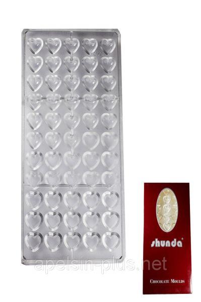 Поликарбонатная форма для шоколада Сердечки малютки 55 ячейки