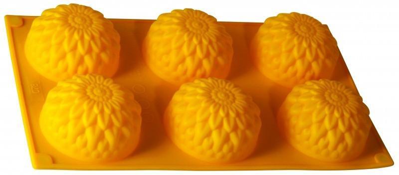 Фото Силиконовые формы для выпечки, Формы на планшете Силиконовая форма для выпечки Хризантемы на 6 ячеек