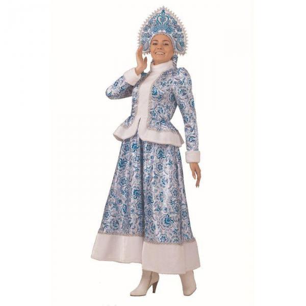 Карнавальный костюм Снегурочка Гжель взрослый длинная юбка