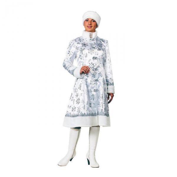 Карнавальный костюм Снегурочка сатин белая взрослый