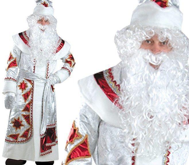 Карнавальный костюм  Дед Мороз серебряно-красный взрослый