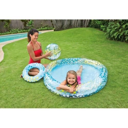 Бассейн детский надувной с мячом и кругом звездочки Intex Stargaze pool set