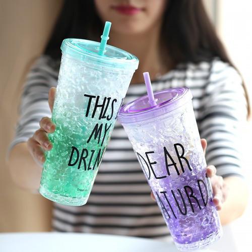 Ледяной стакан для напитков с трубочкой и крышкой