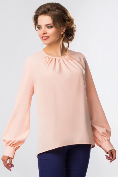 Розовая блузка со складами и объемными рукавами