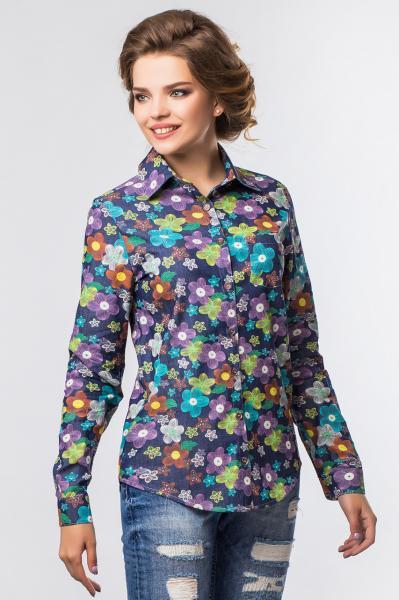 Джинсовая рубашка в цветочек