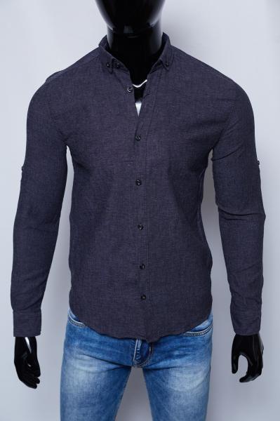 Рубашка мужская льняная Figo 15276 антрацит