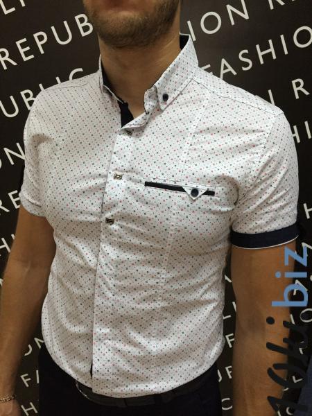 328d1673587 Рубашка мужская короткий рукав 6162 белая Мужские рубашки в Украине
