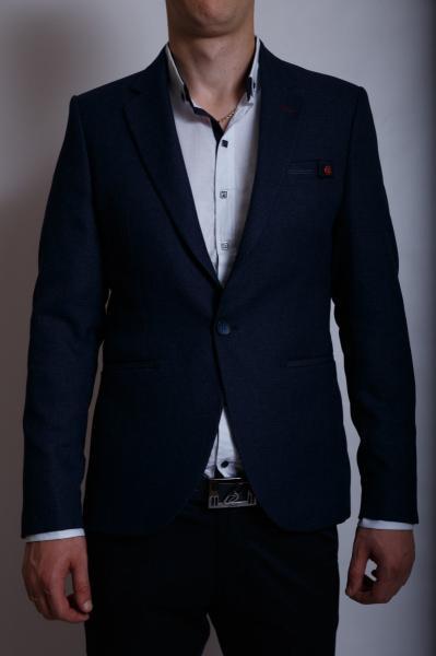 Пиджак льняной мужской приталенный FrankM 172404 синий