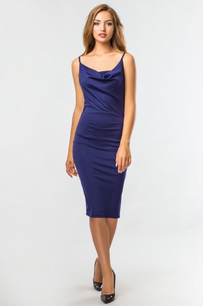 Темно-синие платье со складкой на груди
