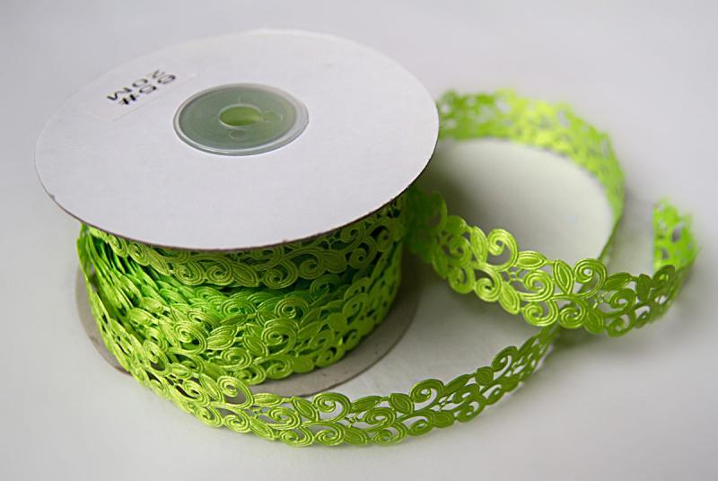Фото Кружево ,тесьма ,сетка,резинка, Тесьма вьюнчик Тесьма декоративная  Вьюнчик  ширина 20 мм.  Салатово - травяного  цвета.