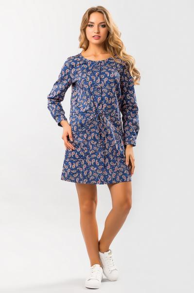 Джинсовое платье с узором пейсли