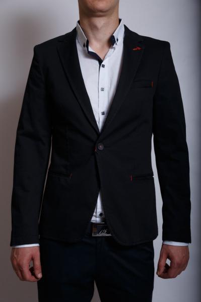 Пиджак мужской приталеный SoulCity 6350 черный котон