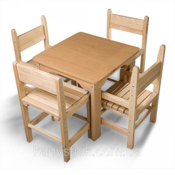 Детский стол и стул буковый ТМ SportBaby: Baby-5 (Украина)