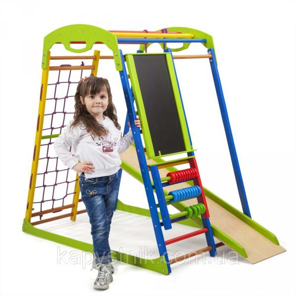 Детский спортивный комплекс для дома ТМ SportBaby: SportWood  Plus (Украина) спортивный уголок, шведская стенк