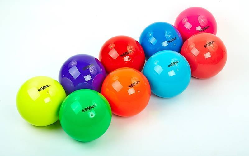 Мяч для художественной гимнастики d-15см ZEL  (PVC, d-15см, 240гр, цвета в ассортименте)