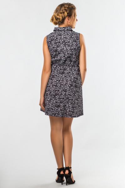 Фото Женская одежда, Платья, Летнее платье Платье-рубашка Узоры на черном