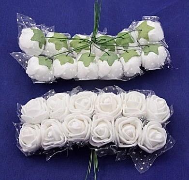 Роза  латексная  2 -  2,2 см ,  Белая  с  фатином.   упаковка  12 цветочков .