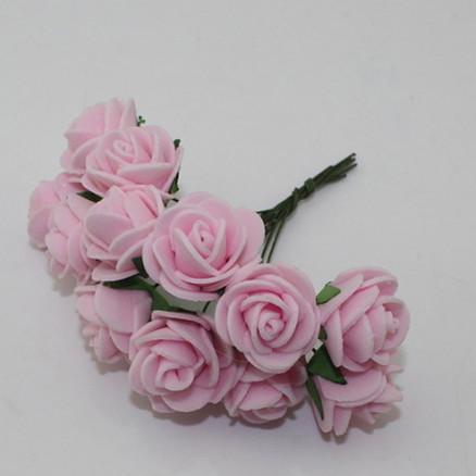 Розочки латексные  2,3 - 2,5 см.  Светло - Розового  цвета.  упаковка  12  цветочков .
