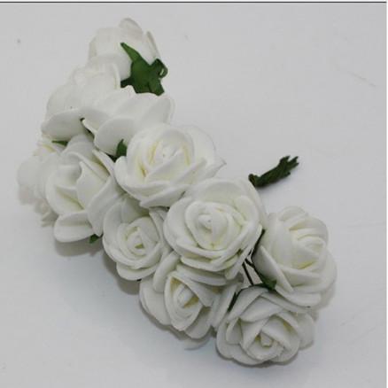 Фото Цветы искусственные, Роза латексная 2.5 см Розочки латексные  2,3 - 2,5 см.  Белого  цвета.  упаковка  12  цветочков .