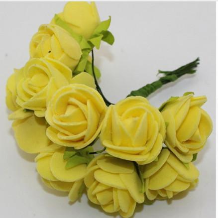 Розочки латексные  2,3 - 2,5 см.  Жёлтого  цвета.  упаковка  12  цветочков .