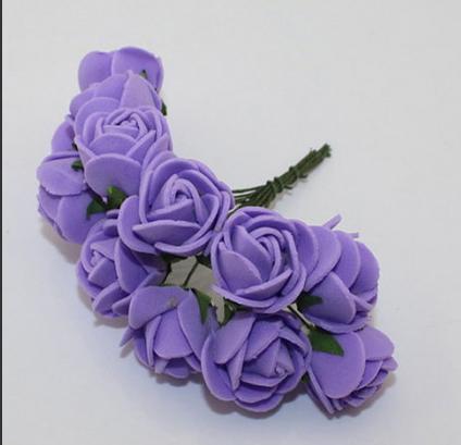 Розочки латексные  2,3 - 2,5 см.  Сиреневого  цвета.  упаковка  12  цветочков .