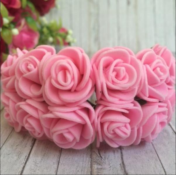 Фото Цветы искусственные, Роза латексная 2,5см Розочки латексные  2,3 - 2,5 см.  Розового  цвета.  упаковка  12  цветочков .