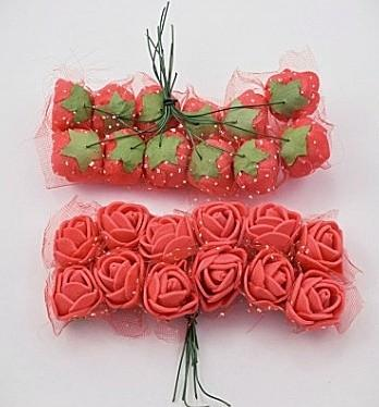 Фото Цветы искусственные, Роза латексная 2,5см Роза  латексная  2 см ,  Красная  с  фатином.  упаковка  12  цветочков .