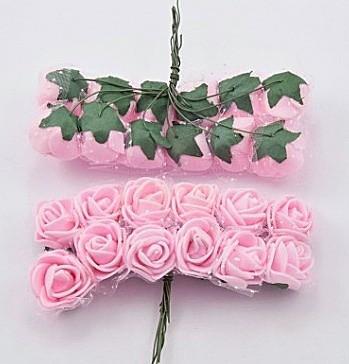 Фото Цветы искусственные, Роза латексная 2,5см Роза  латексная  2 см ,  Розовая  с  фатином.  упаковка  12  цветочков .