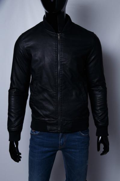 Куртка мужская бомбер демисезонная кожзам GS 067742 черная