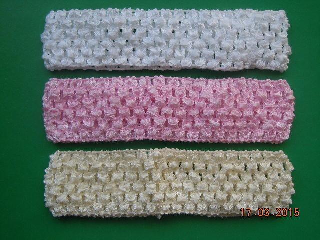 Повязка  ажурная  4 см.   Белая , Розовая , Светло - кремовая.   упаковка  3 шт.