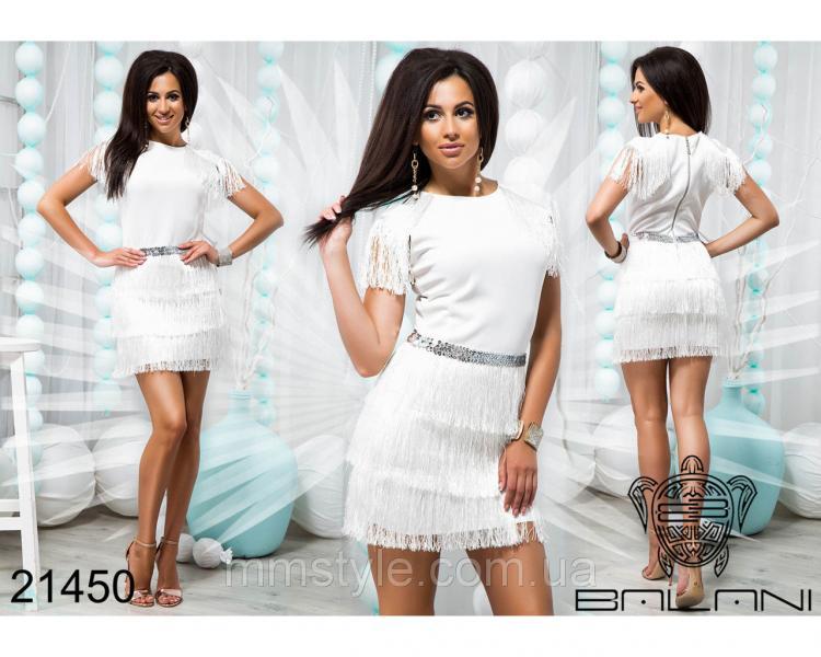 Стильное платье с бахромой - 21450