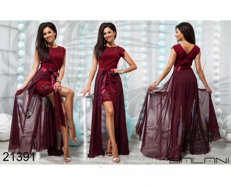 Стильное короткое платье со съемной юбкой - 21391