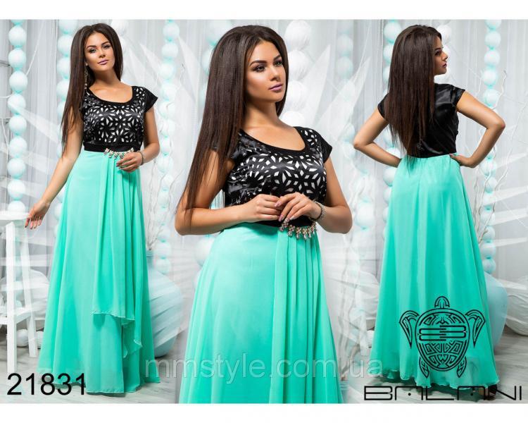 Платье вечернее из бирюзового шифона - 21831