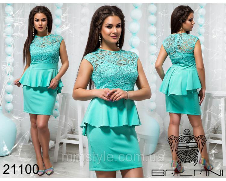 Элегантное платье с баской - 21100