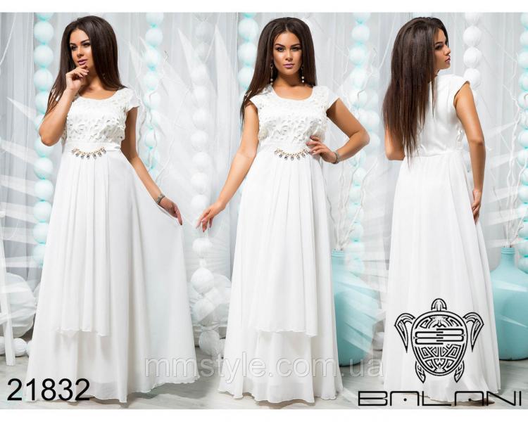 Платье вечернее из белого шифона  - 21832