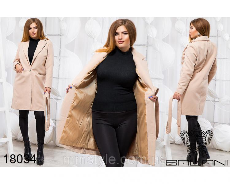 Элегантное пальто на поясе - 18034