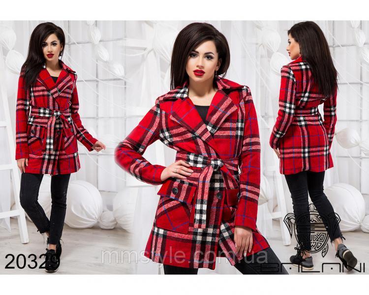 Стильное пальто на поясе - 20329